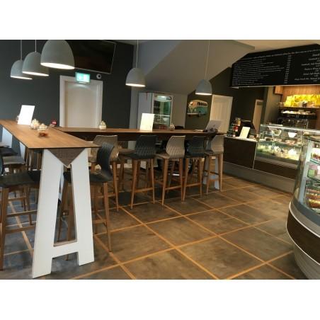 Scaun de bar din lemn MO Uni 77 cm Scaun de bar din plastic cu schelet din lemn