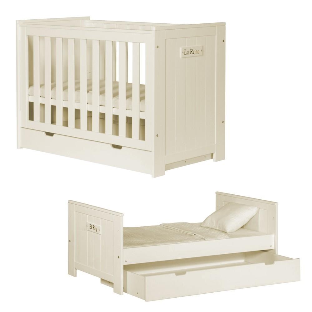 PI Barcelona patut transformabil cu dimensiunea 140 x 70 cm, mobilier de copii pe culoarea alb si vanilie
