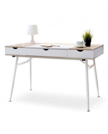 Mese de birou MB Boden masa de birou pe culoarea alb si stejar Sonoma