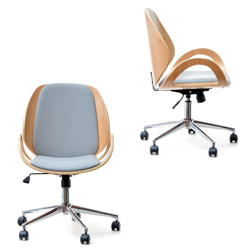 MB Gina scaun de birou in stil SCANDINAV cu suprafata tapitata pe culoarea gri
