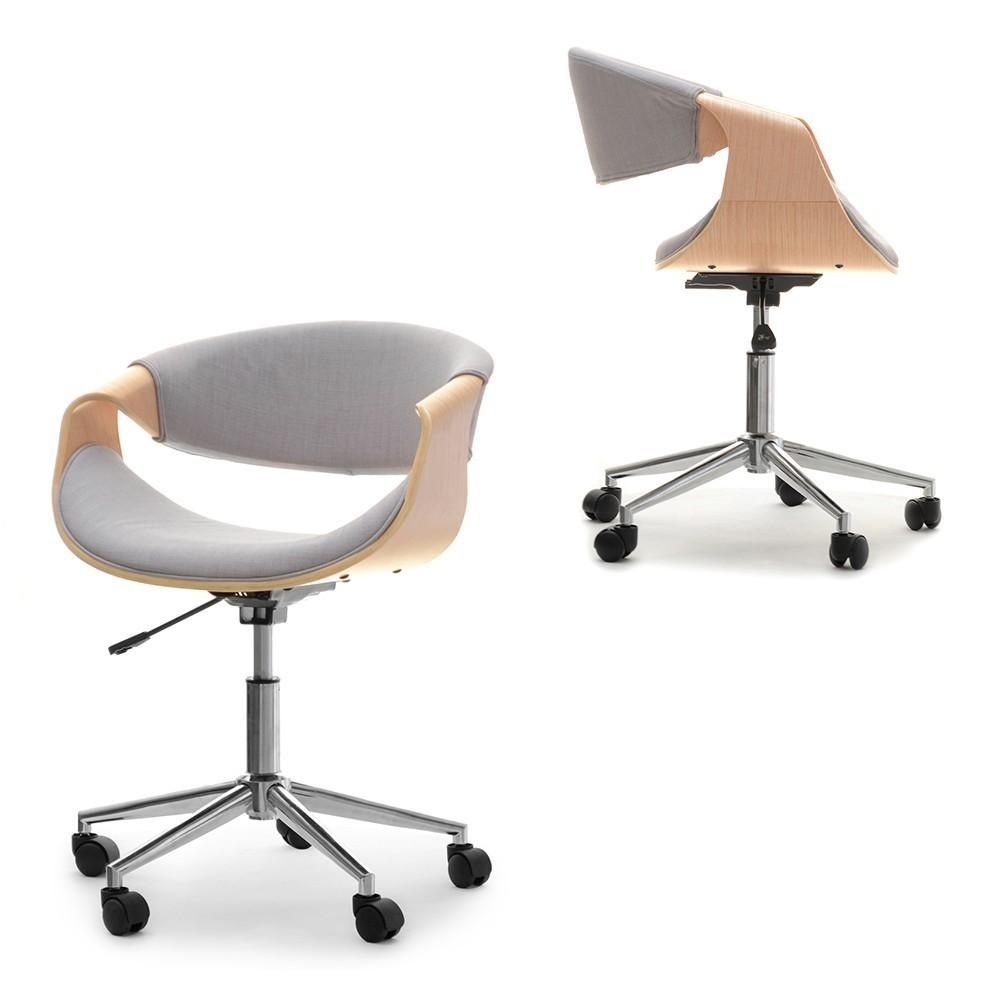 MB Rapid scaun de birou in stil SCANDINAV cu suprafata tapitata pe culoarea gri