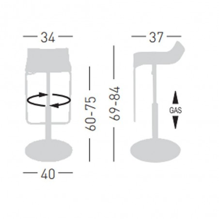 Scaun de bar din plastic GE Mico-X Scaun de bar